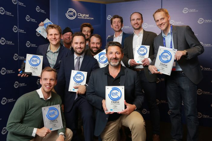 EIT Digital Challenge 2019: happy winners posing for a group picture at the EIT Digital Challenge Final